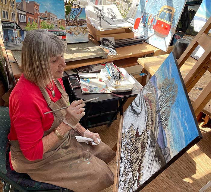 Heidi Burkhardt in her Studio
